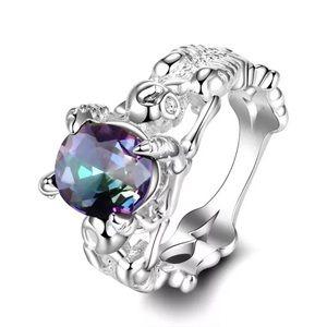 .925 silver mystic fire skull ring